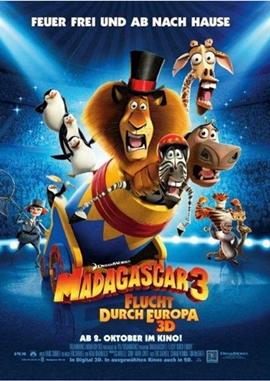 Madagascar 3 – Flucht durch Europa – deutsches Filmplakat – Film-Poster Kino-Plakat deutsch