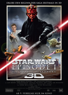 Star Wars 3D: Episode I – Die dunkle Bedrohung – deutsches Filmplakat – Film-Poster Kino-Plakat deutsch